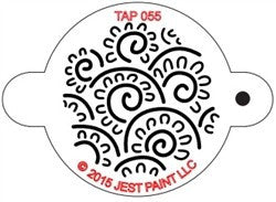 TAP Face Painting Stencil 055 Henna Floral Swirls - Looney Bin Products
