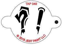 TAP Face Painting Stencil 049 Graffiti Punctuation Marks - Looney Bin Products