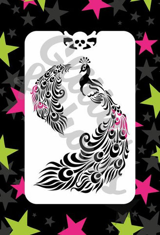 Glitter & Ghouls Stencils PRETTY PEACOCK<br />9 x 14cm - Looney Bin Products