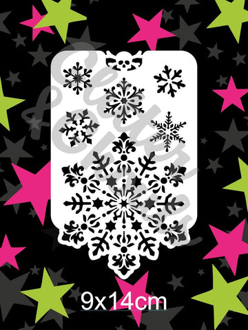 Glitter & Ghouls Stencils SNOWFLAKE EDGE 9 x 14cm - Looney Bin Products