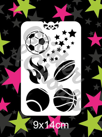 Glitter & Ghouls Stencils SPORTS BALLS & FLAMES<br />9 x 14cm - Looney Bin Products