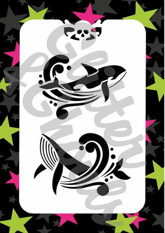 Glitter & Ghouls Stencils WHALES<br />6.5cm x 9.5cm - Looney Bin Products