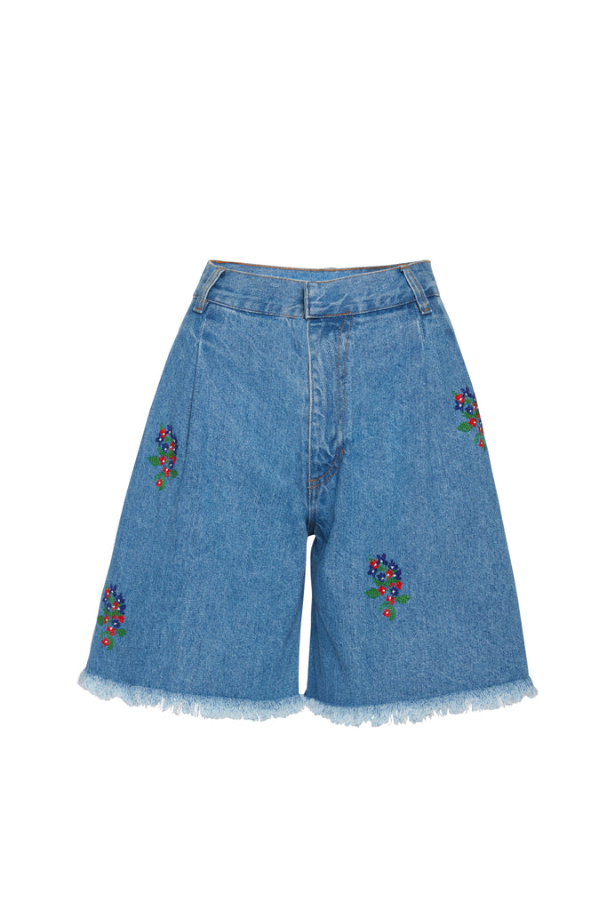Flower Print Denim Short