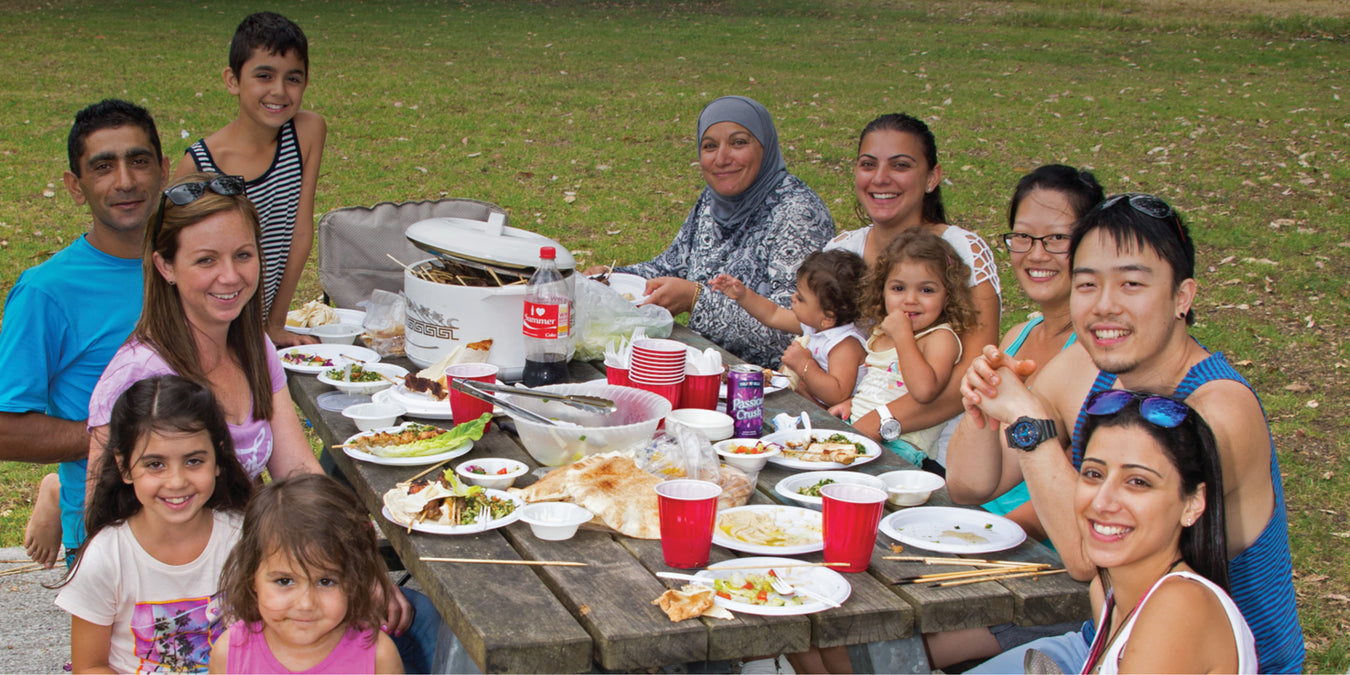 Oz Publishing multicultural big book banner showing a mixed race family barbecue
