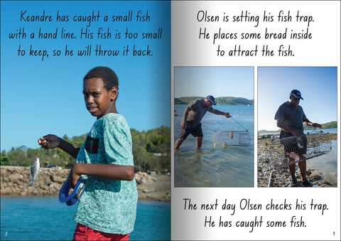 Torres Strait Islander people fishing from the educational big book 'Let's Learn about the Torres Strait Isalnds'