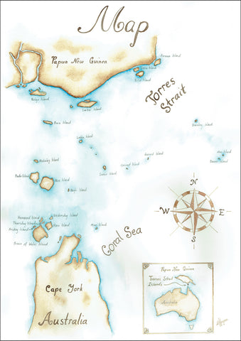 Map of the Torres Strait Islands from the educational big book 'Let's Learn about the Torres Strait Isalnds'