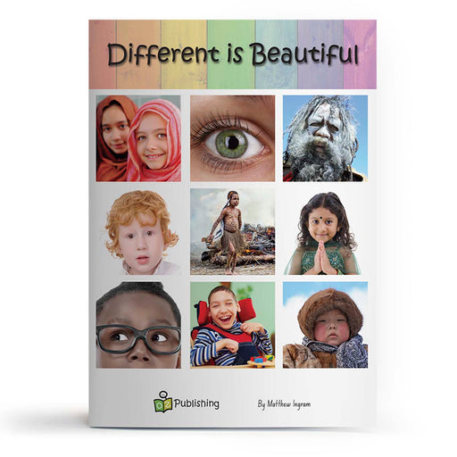 Educational big book cover titled 'Different is Beautiful' with multicultural and indigenous people.