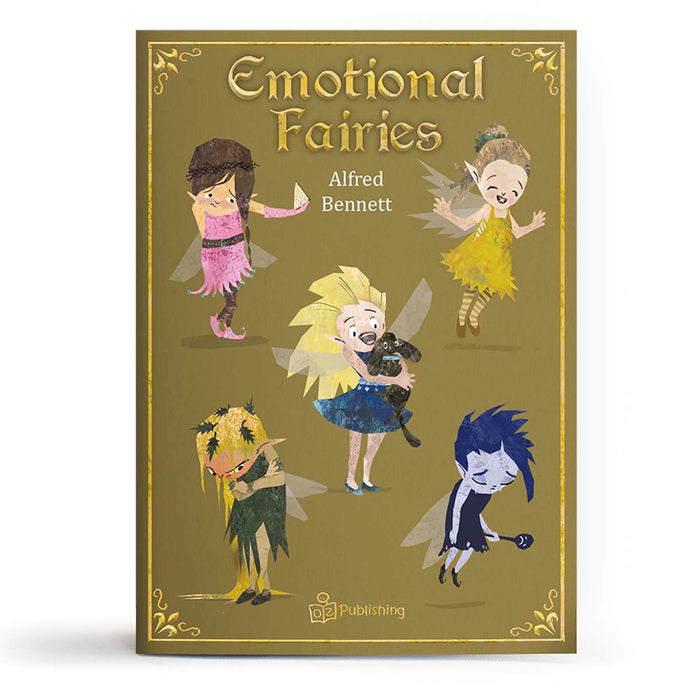 Educational fairytale big book cover titled 'Emotional Fairies' with sad, shy happy, angry emotions.