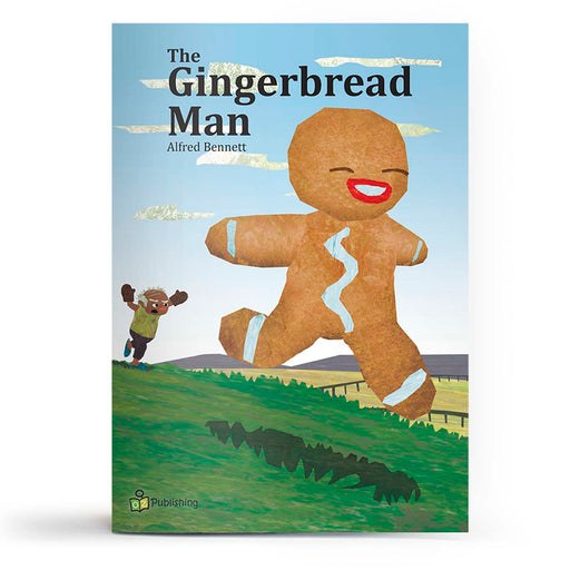 Educational fairy tale big book cover titled 'Gingerbread man', with artwork of gingerbread man running and being chased.