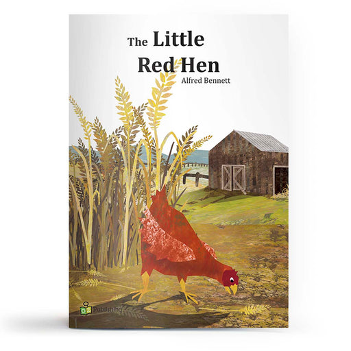 Educational fairy tale big book cover titled 'Little Red Hen', with chicken pecking on the wheat farm, and a barn in the background.