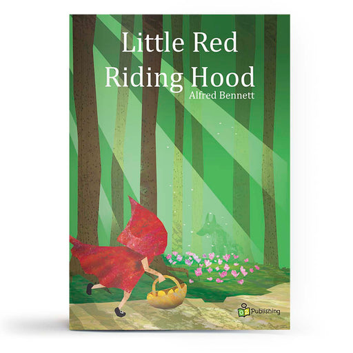 Educational fairy tale big book cover titled 'Little Red Riding Hood' with girl carrying basket in the woods with a hiding wolf.