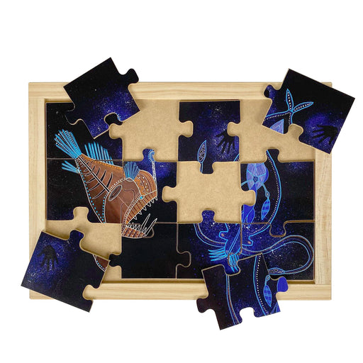 Australian-made wooden puzzle, featuring aboriginal art anglerfish and cockatoo squid, designed for early childhood education.