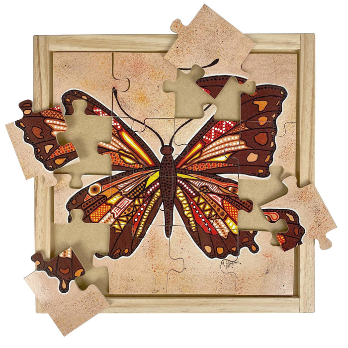 Australian-made wooden puzzle, featuring an aboriginal art butterfly, designed for early childhood education