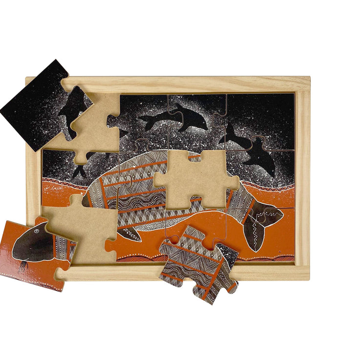 Australian-made wooden puzzle, featuring aboriginal art dugong and dolphins, designed for early childhood education.
