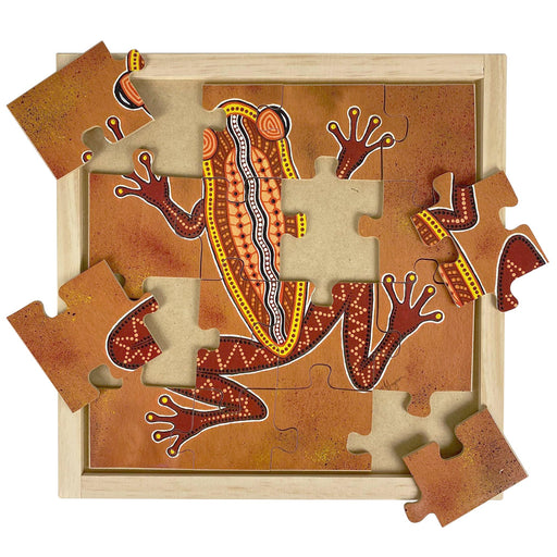 Australian-made wooden puzzle, featuring an aboriginal art frog, designed for early childhood education