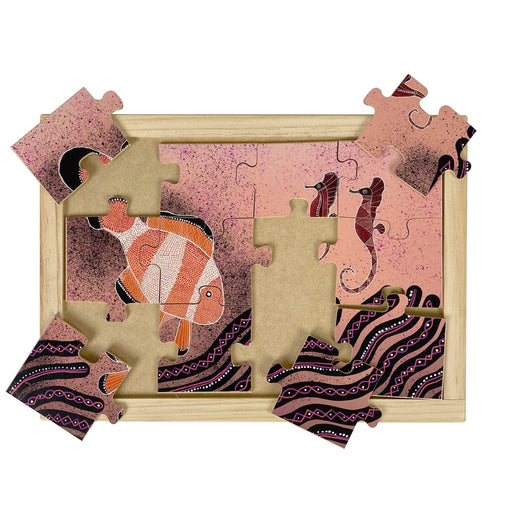 Australian-made wooden puzzle, featuring aboriginal art clownfish and sea horse in the great barrier reef.