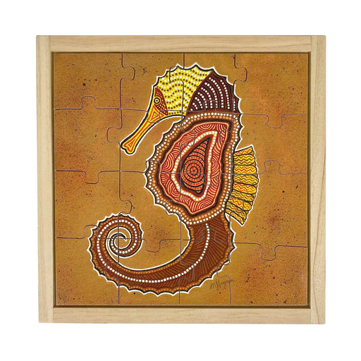 Australian-made wooden puzzle, featuring an aboriginal art sea horse, designed for early childhood education