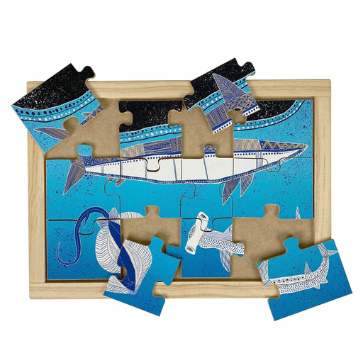 Australian-made wooden puzzle, featuring aboriginal art sharks and sting ray, designed for early childhood education.