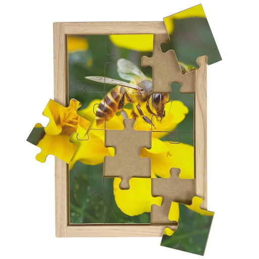Australian-made wooden puzzle, featuring photograph of a honey bee collecting nectar from a yellow flower. Designed for childcare.