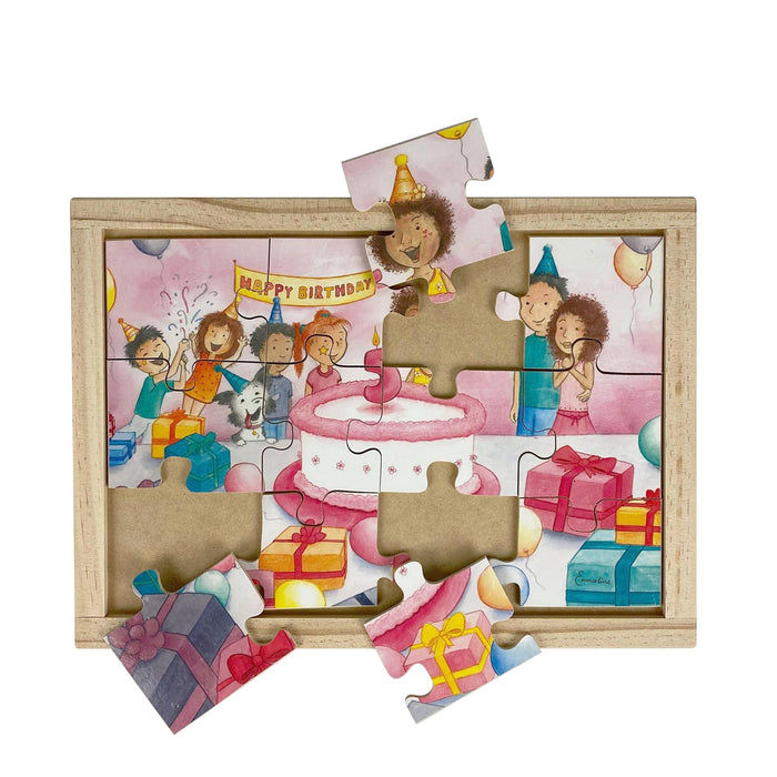 Australian-made wooden puzzle, featuring artwork of a family birthday party with cake. Designed for childcare.
