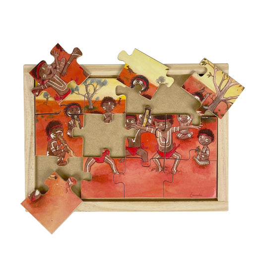 Australian-made wooden puzzle, featuring artwork of an Aboriginal Corroboree in the outback. Designed for childcare.