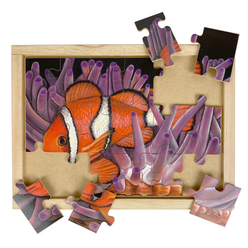 Australian-made wooden puzzle, featuring artwork of clownfish Nemo, among anemones. Designed for childcare.