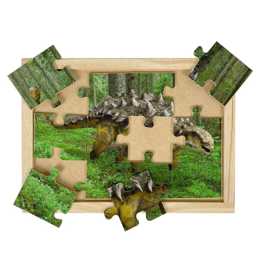 Australian-made wooden puzzle, featuring Ankylosaurus, the armoured dinosaur, designed for childcare.