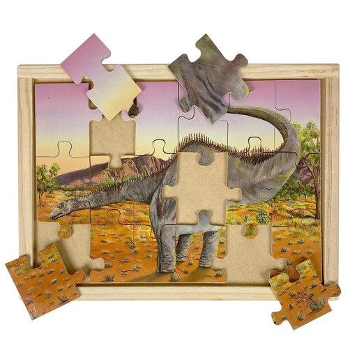 Australian-made wooden puzzle, featuring Diplodocus, a long-neck sauropod dinosaur, designed for childcare.