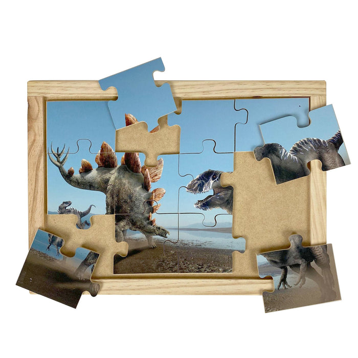 Australian-made wooden puzzle, featuring the dinosaurs Stegosaurus and Allosaurus, designed for childcare.