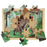 Australian-made wooden puzzle, featuring the dinosaur Stegosaurus, in a Jurassic forest, designed for childcare.