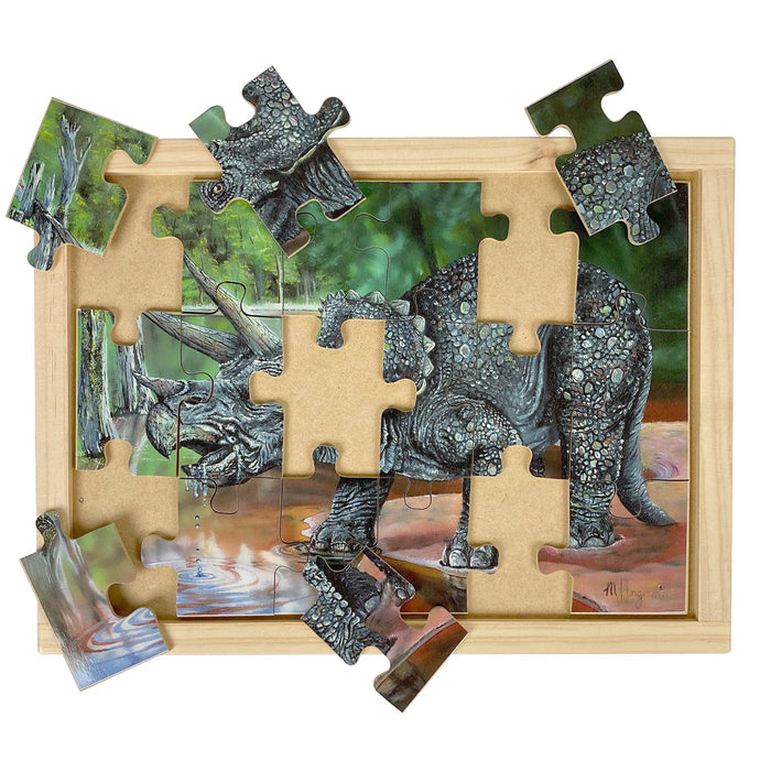 Australian-made wooden puzzle, featuring the dinosaur Triceratops, drinking water from a river, designed for childcare.