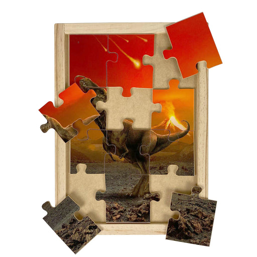 Australian-made wooden puzzle, featuring Tyrannosaurus Rex in front of a volcano during the extinction of the dinosaurs.
