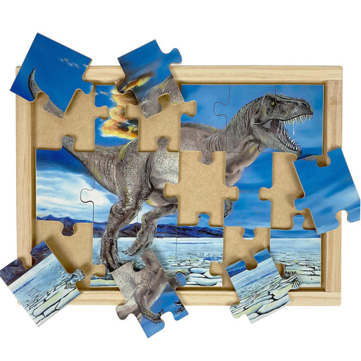 Australian-made wooden puzzle, featuring Tyrannosaurus Rex, the king of the dinosaurs, designed for childcare.