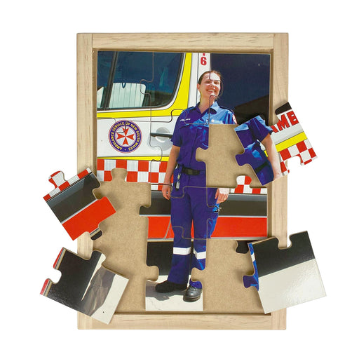 Australian-made wooden puzzle, featuring a female ambulance officer in front of her emergency van, designed for childcare.