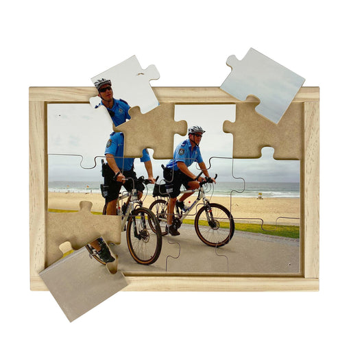 Australian-made wooden puzzle, featuring two police officers on bikes with helmets, designed for childcare.