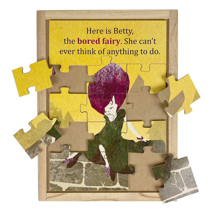 Australian-made wooden puzzle, featuring artwork of bored feelings and emotions fairy. Designed for childcare.