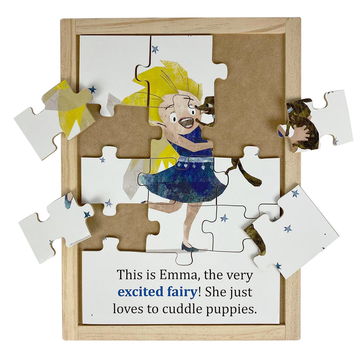 Australian-made wooden puzzle, featuring artwork of excited feelings and emotions fairy. Designed for childcare.