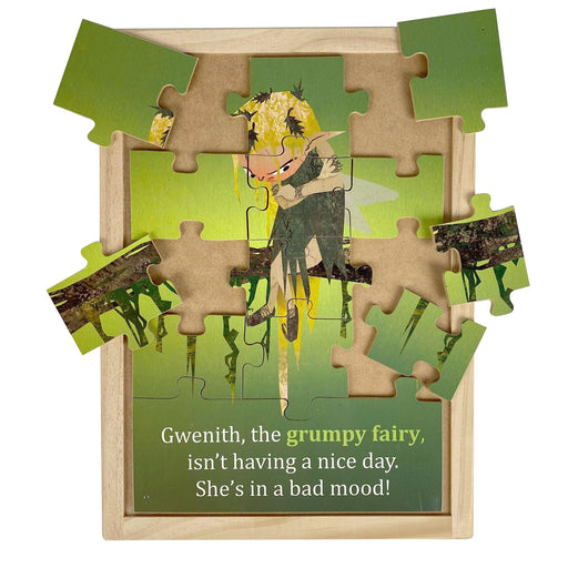 Australian-made wooden puzzle, featuring artwork of grumpy feelings and emotions fairy. Designed for childcare.