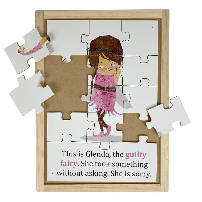 Australian-made wooden puzzle, featuring artwork of guilty feelings and emotions fairy. Designed for childcare.
