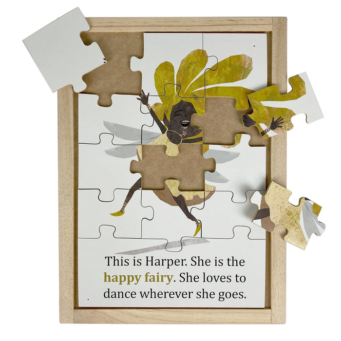 Australian-made wooden puzzle, featuring artwork of happy feelings and emotions fairy. Designed for childcare.