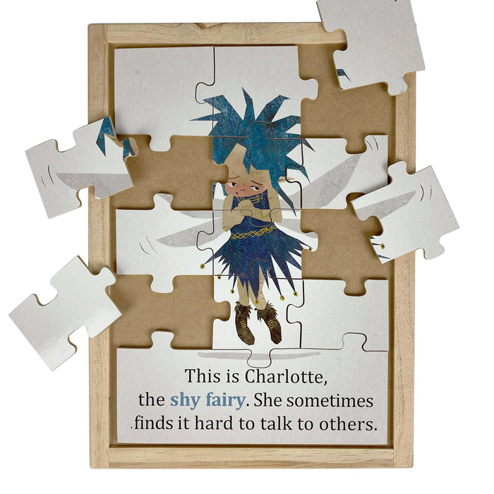 Australian-made wooden puzzle, featuring artwork of shy feelings and emotions fairy. Designed for childcare.