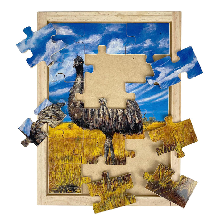 Australian-made wooden puzzle, featuring artwork of an emu in the blue sky outback. Designed for childcare.