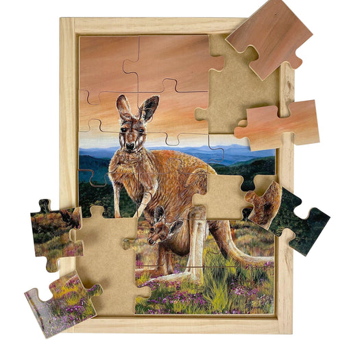 Australian-made wooden puzzle, featuring artwork of a red kangaroo with joey in the outback. Designed for childcare.