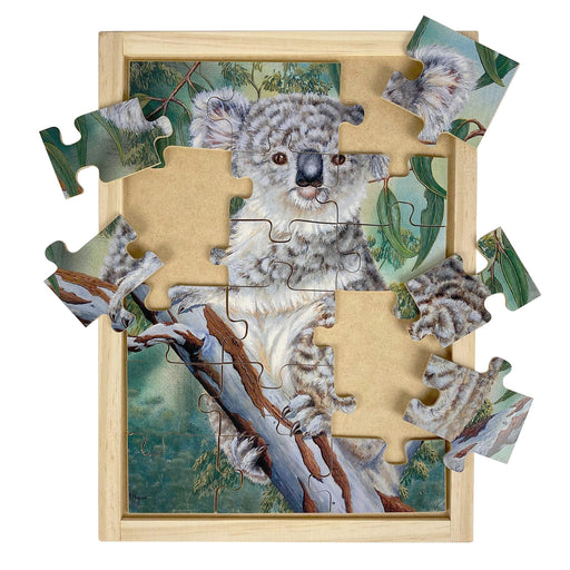 Australian-made wooden puzzle, featuring artwork of a grey koala in a eucalyptus gumtree in the bush. Designed for childcare.