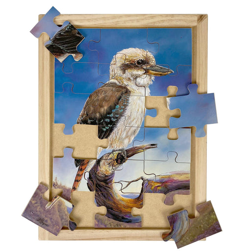 Australian-made wooden puzzle, featuring artwork of a kookaburra in a eucalyptus gumtree in the bush. Designed for childcare.