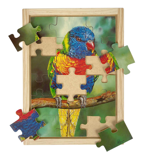 Australian-made wooden puzzle, featuring artwork of a rainbow lorikeet in the rainforest. Designed for childcare.