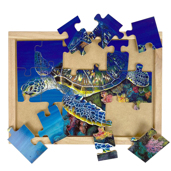 Australian-made wooden puzzle, featuring artwork of a green sea turtle swimming in the great barrier reef. Designed for childcare.