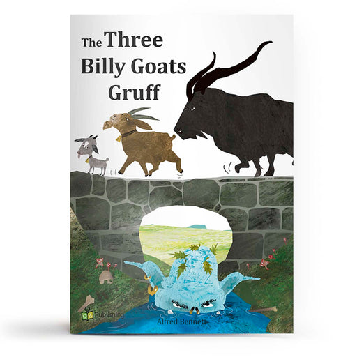 Educational fairy tale big book cover titled 'Three Billy Goats Gruff', with goats crossing the bridge, over a blue troll.