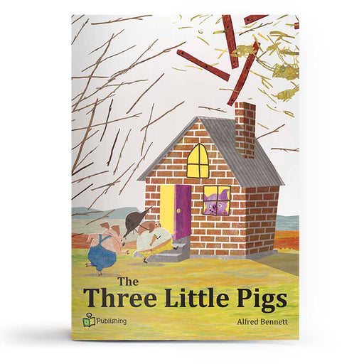 "Educational fairy tale big book cover titled 'Three Little Pigs', with wolf saying ""I'll huff and puff and blow the house down""."