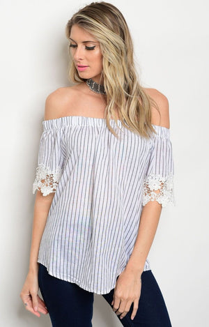 Leah OTS top in black & white stripe